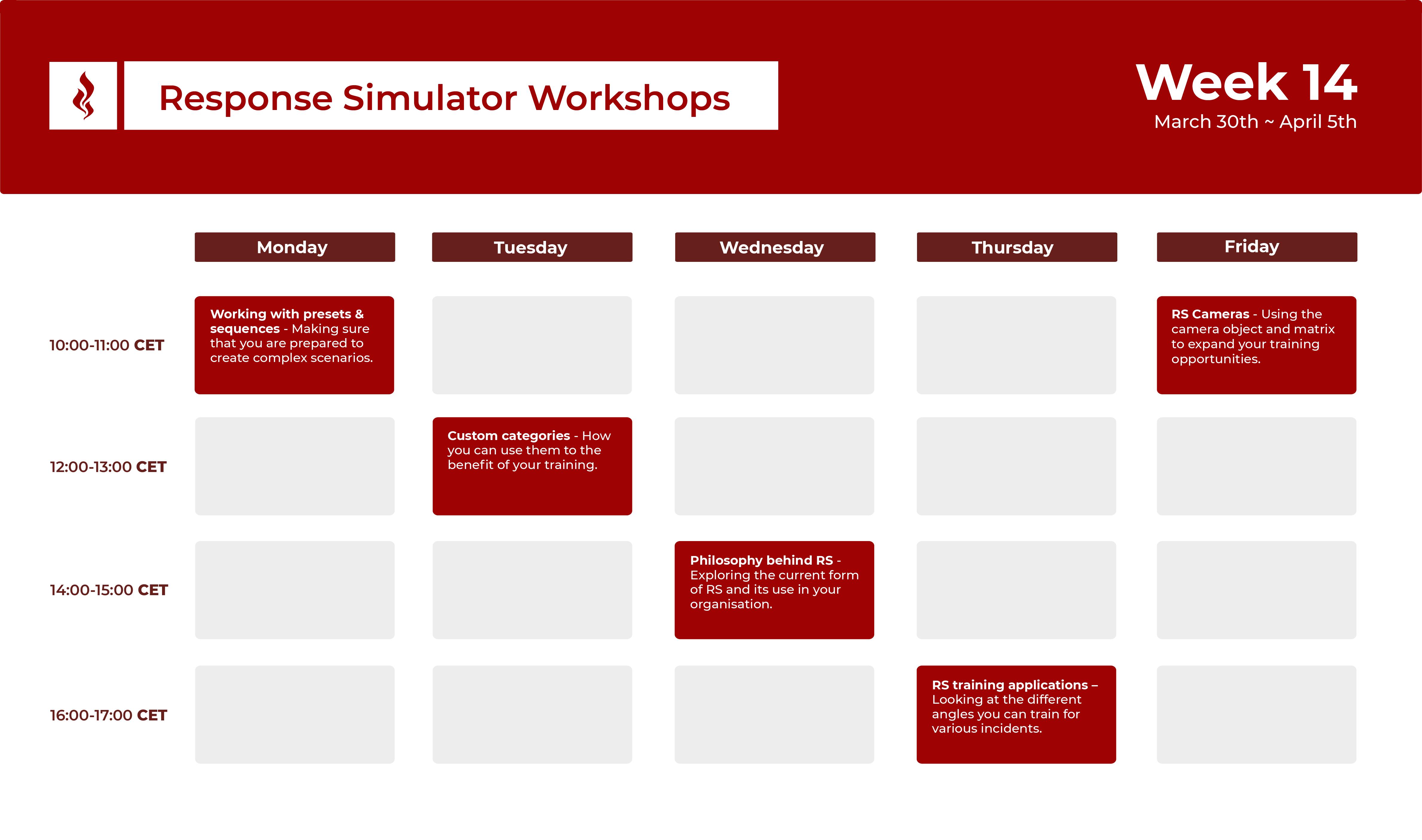 Response Simulator Workshops - Week 14