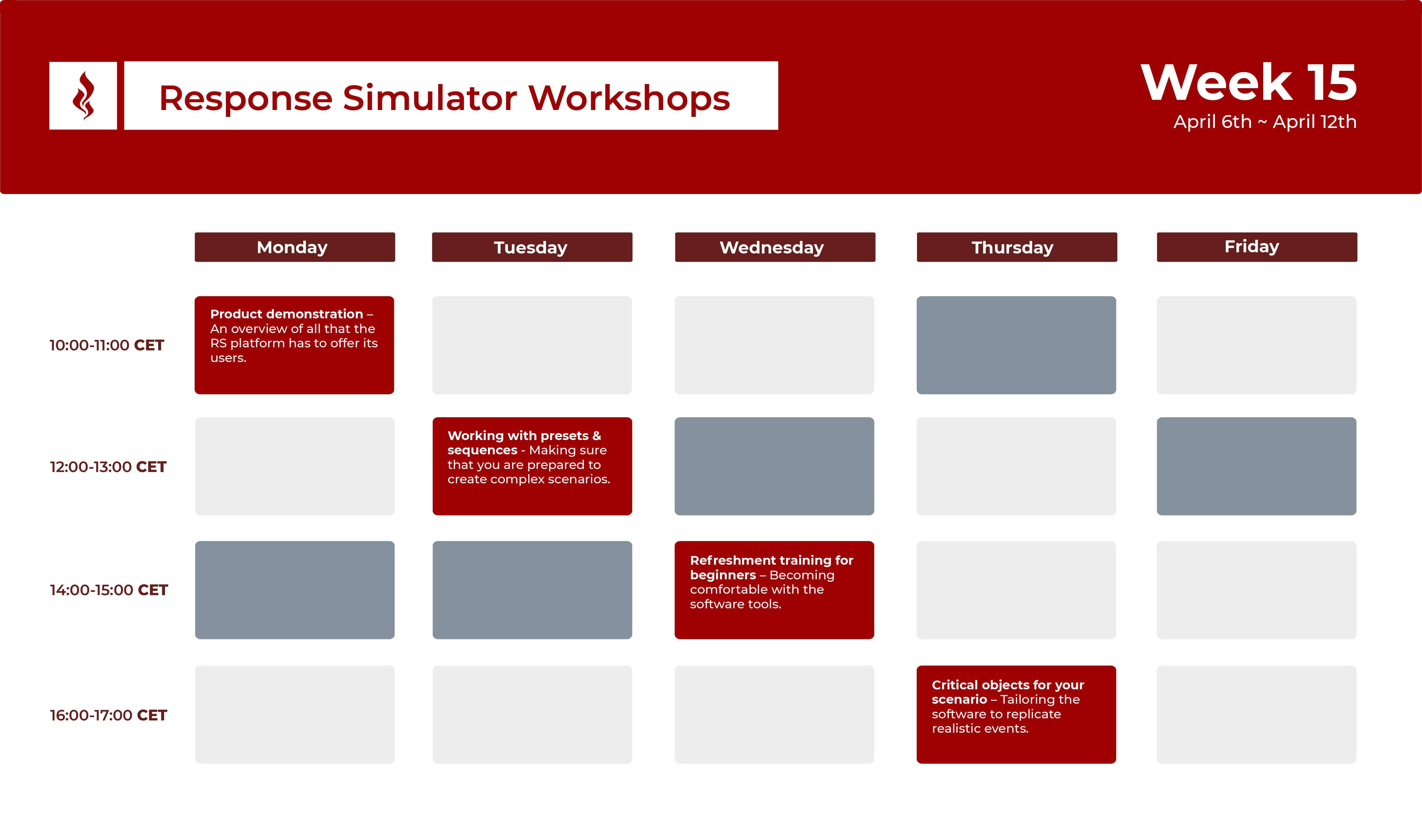 Response Simulator Workshops - Week 15