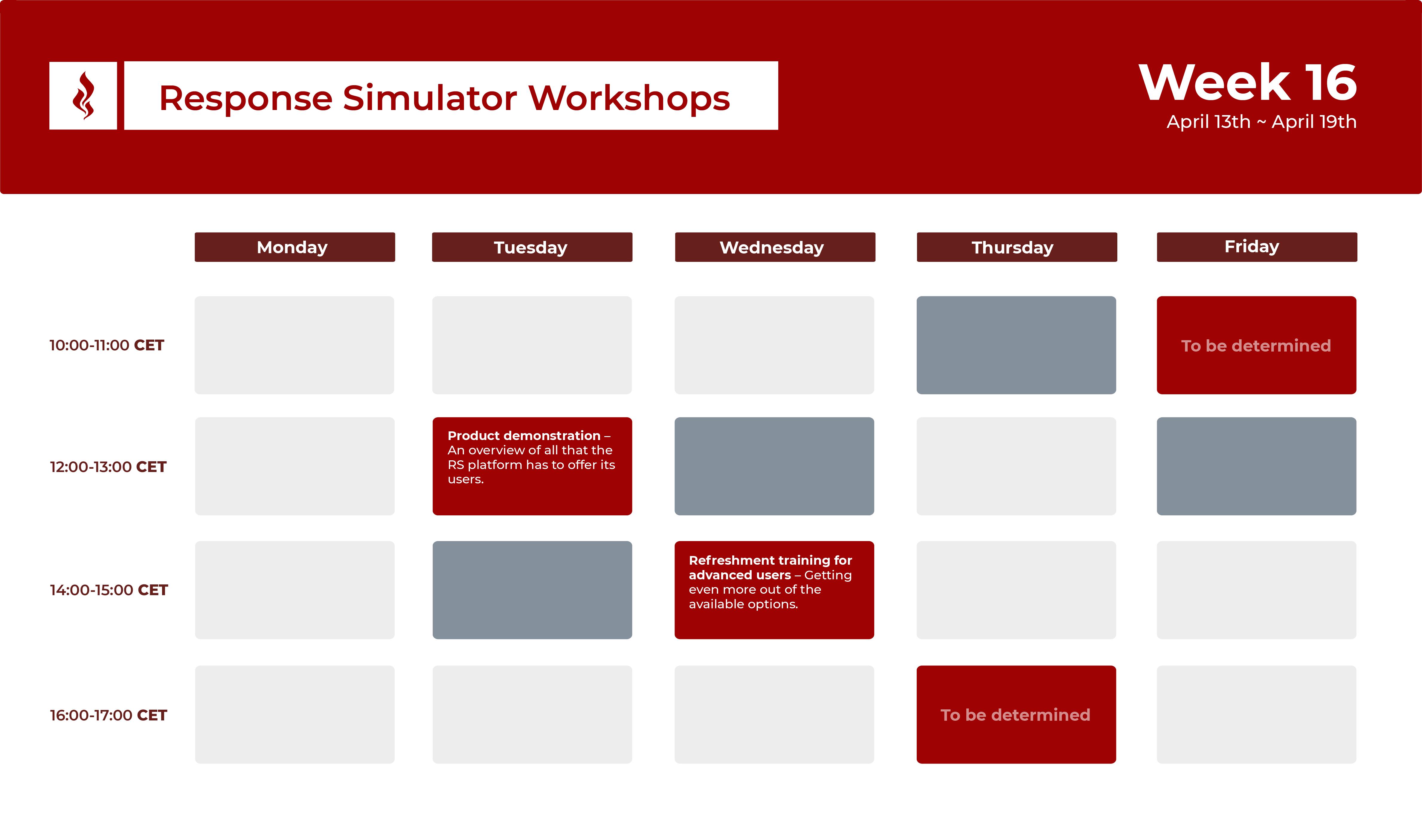 Response Simulator Workshops - Week 16